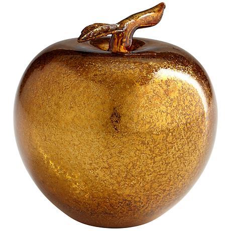 "Apple 4"" High Gold Glass Figurine"