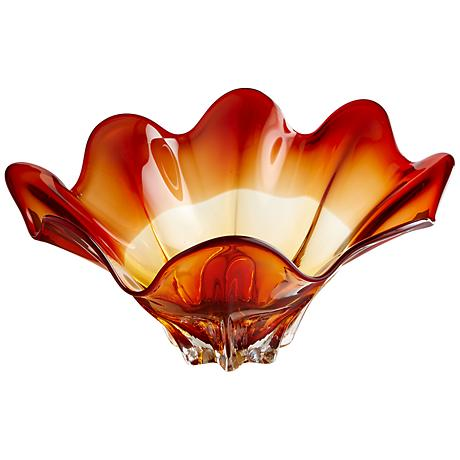 """Lily 22"""" Wide Amber Glass Bowl"""