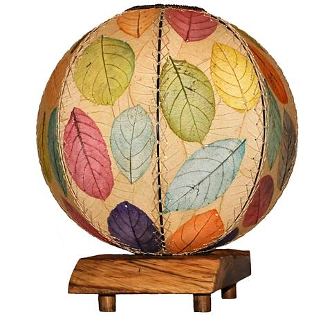Eangee Driftwood Multi-Color Cocoa Leaves Orb Table Lamp