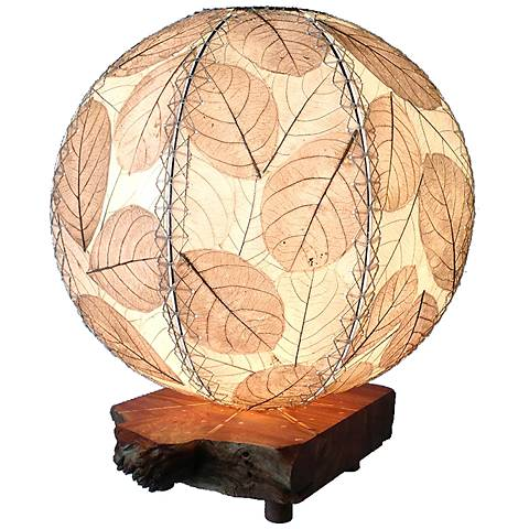 Eangee Driftwood Natural Cocoa Leaves Orb Accent Table Lamp