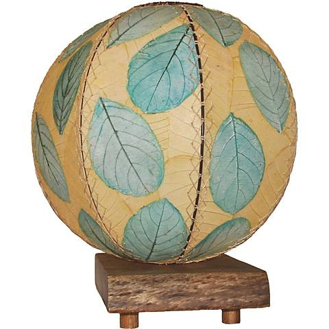 Eangee Driftwood Sea Blue Cocoa Leaves Orb Accent Table Lamp