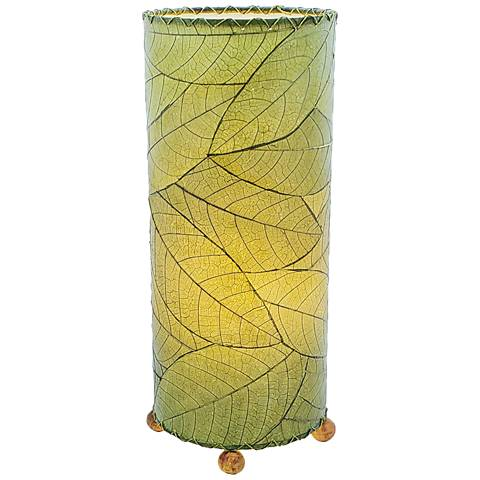 """Eangee Cylinder Green Cocoa Leaf 16 1/2""""H Accent Table Lamp"""