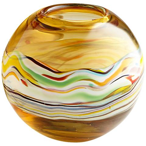 """Blanch Small 8"""" Wide Amber Glass Vase"""