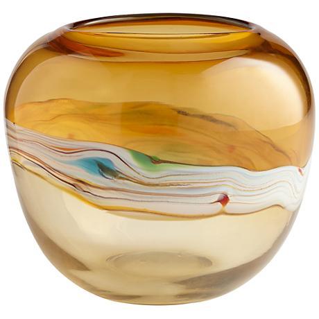 "Blanch Large 10"" High Amber Glass Vase"
