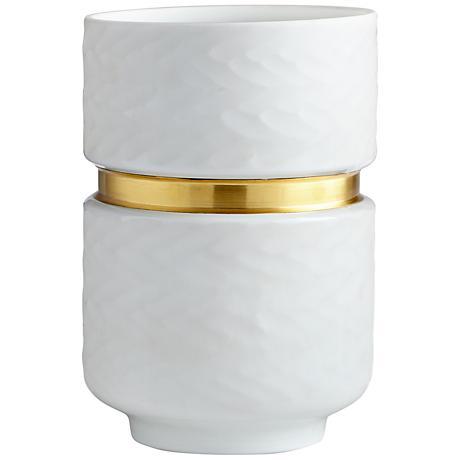 """Stockholm Small 10"""" High White Glass Vase"""