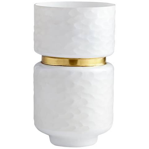 """Stockholm Large 14"""" High White Glass Vase"""