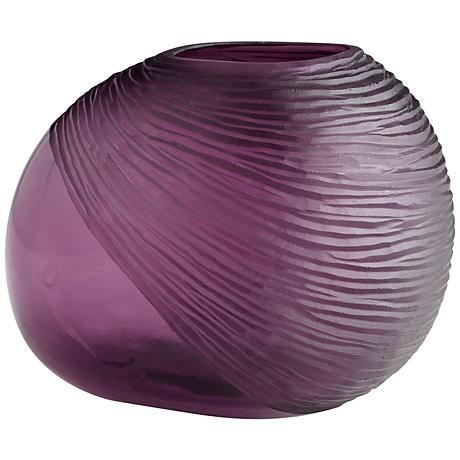 "Pebble Small 9"" Wide Purple Glass Vase"