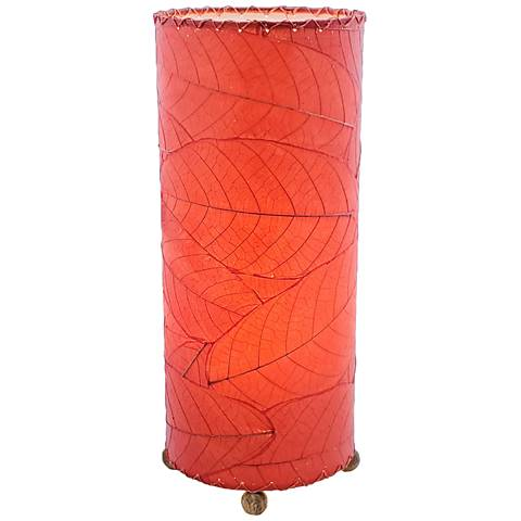 Eangee Cylinder Red Cocoa Leaves Uplight Accent Table Lamp