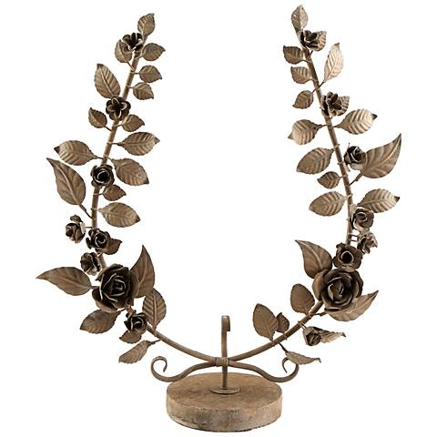 "Viola Floral 26"" High Rustic Iron Sculpture"