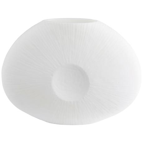 """Louvre Large 17"""" Wide White Glass Vase"""