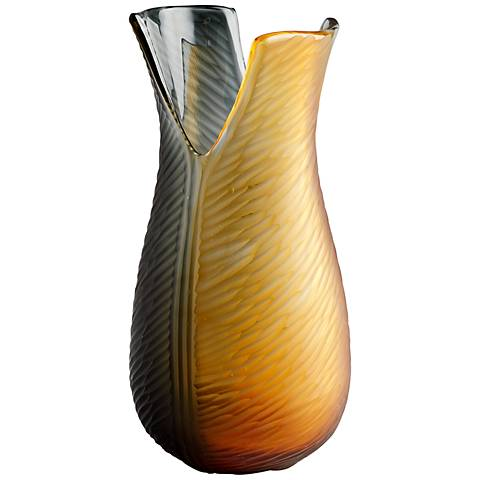 "Candice Medium 13"" High Amber and Smoke Glass Vase"