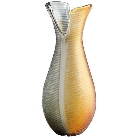 "Candice Large 16"" High Iridescent Gold Glass Vase"