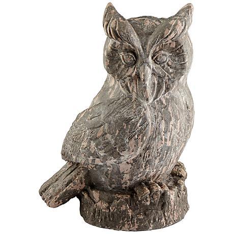 "Owl 17"" High Washed Ebony Statue"