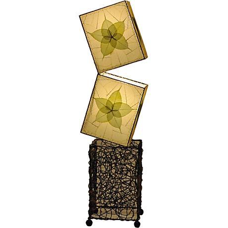 Eangee Cube Green Banyan Leaves Large Floor Lamp