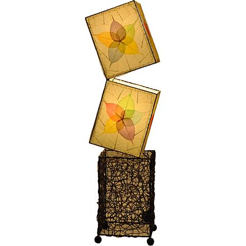 Eangee Cube Multi-Color Banyan Leaves Large Floor Lamp