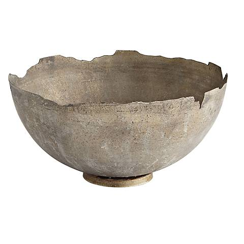 Pompeii Large White Wash Iron Bowl