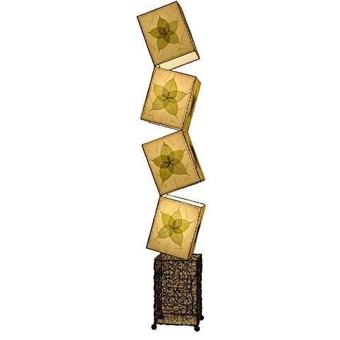 Eangee Cube Green Banyan Leaves Giant Floor Lamp