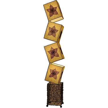Eangee Cube Purple Banyan Leaves Giant Floor Lamp