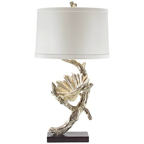 John Richard Silver Leaf Driftwood and Shell Table Lamp