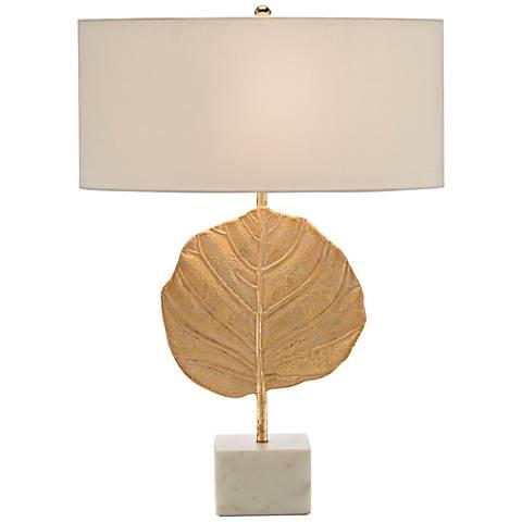 John Richard Plated Golden Leaf Table Lamp