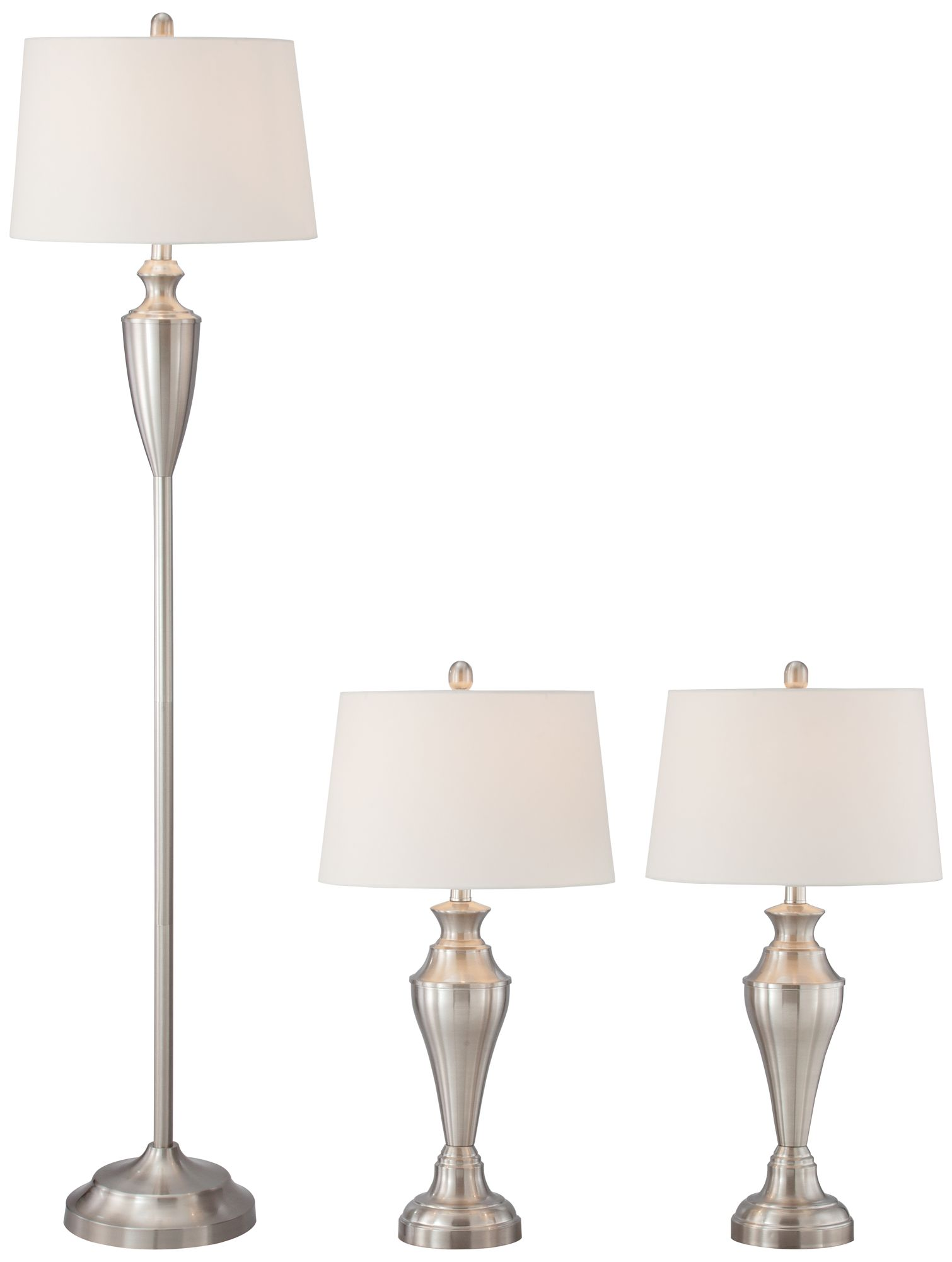 Denny Brushed Steel 3 Piece Floor And Table Lamp Set