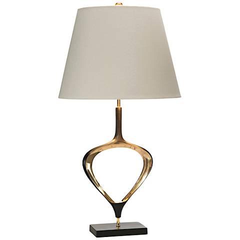 John Richard Aged Antique Brass Open Teardrop Table Lamp