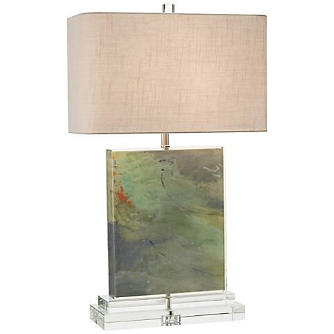 John Richard Colors Canvas Acrylic Block Table Lamp
