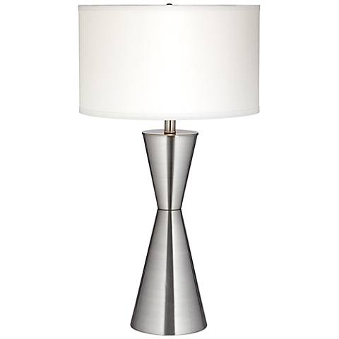 Troubadour Brushed Steel Tapered Table Lamp