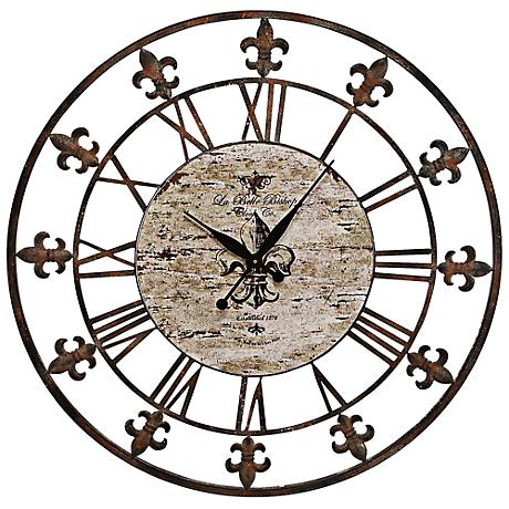 """Chartres Rusted Iron 36"""" Round Wall Clock"""