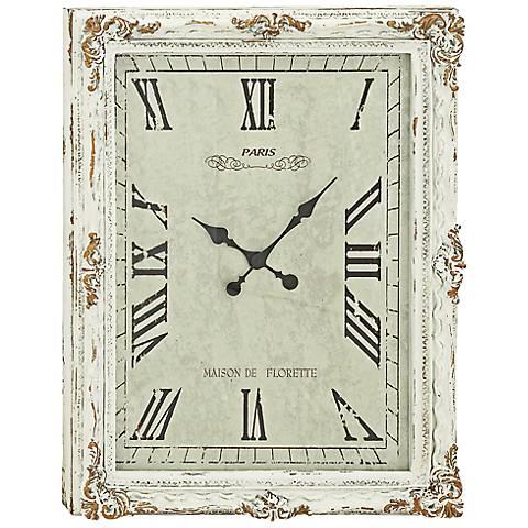 "Gertrude White Wood 36"" High Wall Clock"