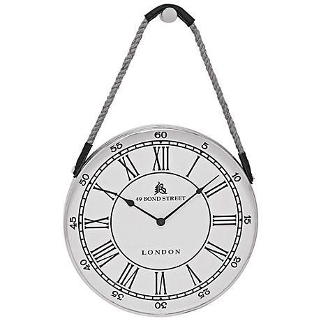 "Angus White Metal 18"" Round Wall Clock"