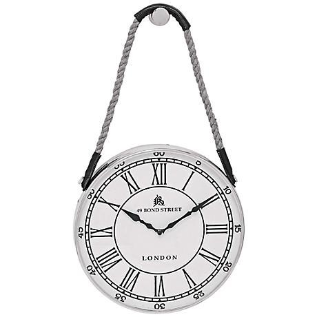 "Angus White Metal 14"" Round Wall Clock"
