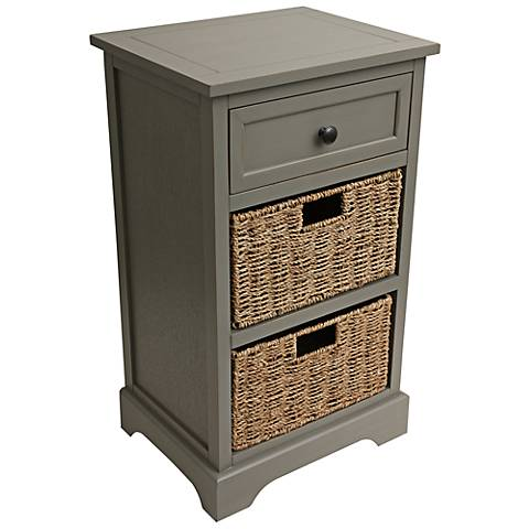 Ella Antique Gray 1-Drawer Accent Table with Baskets