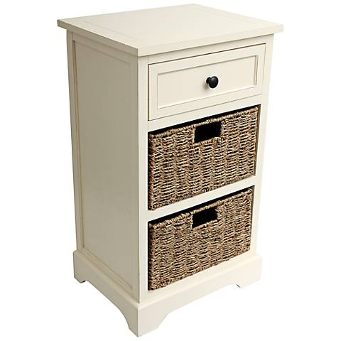 Ella Antique White 1-Drawer Accent Table with Baskets