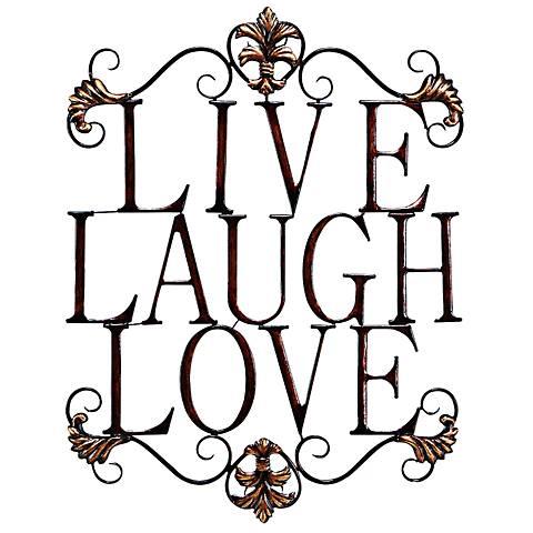 """Live Laugh Love 28"""" High Bronze Open-Design Wall Art"""