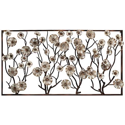 """Flowers in the Window 72"""" Wide Metal Wall Art"""