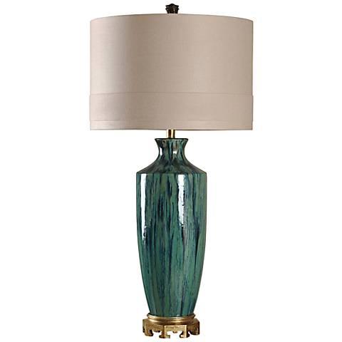 Manoca Reactive Glaze Blue and Green Ceramic Table Lamp