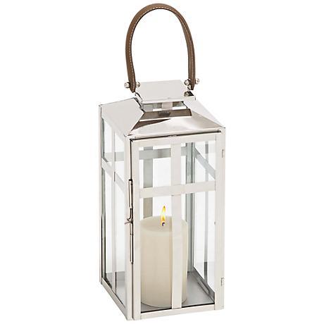 "Impery Steel Lantern 17"" High Pillar Candle Holder"