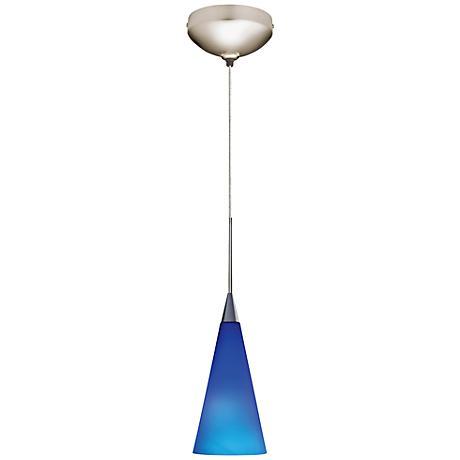 """Juno Cobalt 4"""" Wide Tall Cone Glass Halogen Mini Pendant"""