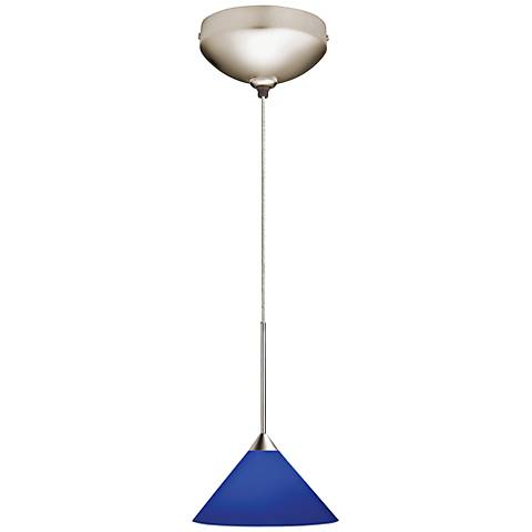 "Juno Cobalt Glass 5 1/2""W Short Cone Halogen Mini Pendant"