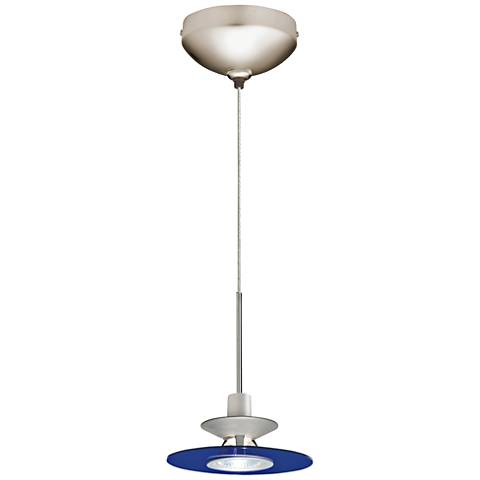 "Juno Cobalt Glass 6"" Wide Disc Shade Halogen Mini Pendant"