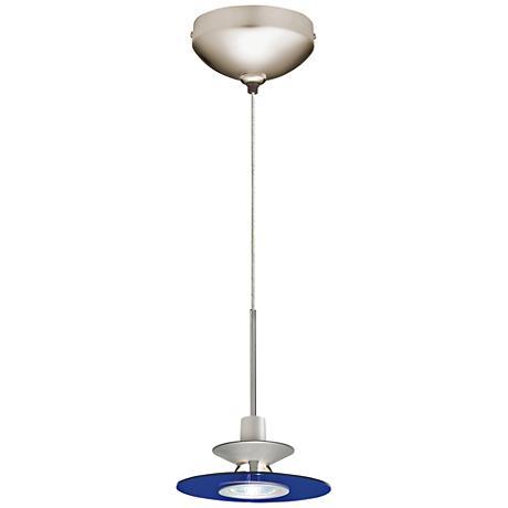 "Juno Cobalt Glass 6"" Wide Disc Shade Halogen Mini Pendant"