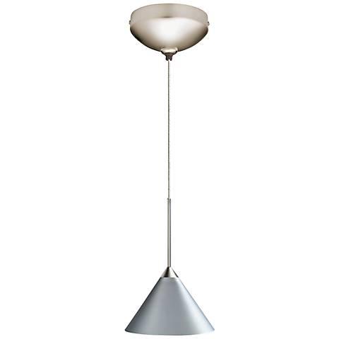 """Juno Silver 5 1/2""""W Steel Short Cone Halogen Mini Pendant"""