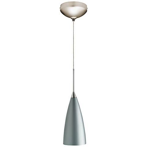 "Juno 4""W Silver Steel Flute Satin Nickel LED Mini Pendant"