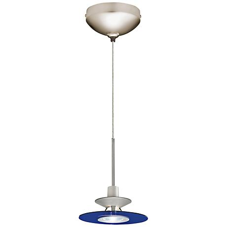"Juno 6""W Cobalt Glass Disc Satin Nickel LED Mini Pendant"