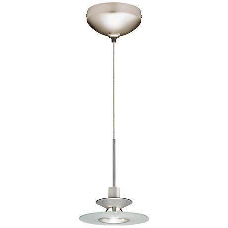 "Juno 6""W Frost Glass Disc Satin Nickel LED Mini Pendant"