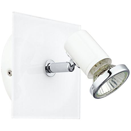white square 1 light chrome wall track light 8p778 lamps plus. Black Bedroom Furniture Sets. Home Design Ideas