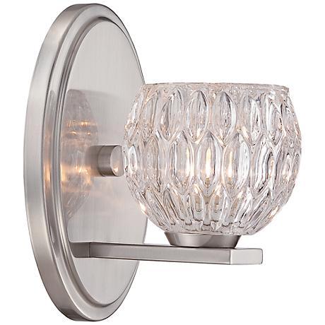 oddesa 8 high satin platinum wall sconce 8p848 lamps plus. Black Bedroom Furniture Sets. Home Design Ideas