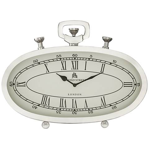 """Luther Polished Nickel 16"""" Wide Oval Metal Table Clock"""