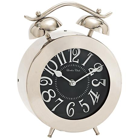 "Zoe Stainless Steel 10"" High Table Clock"
